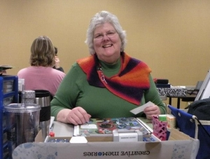 Scrapbooking and wearing one of my knitted creations in PA.